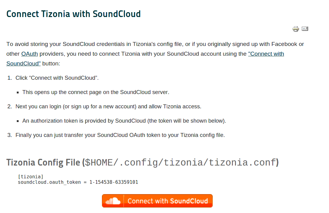 Tizonia - Connect with SoundCloud